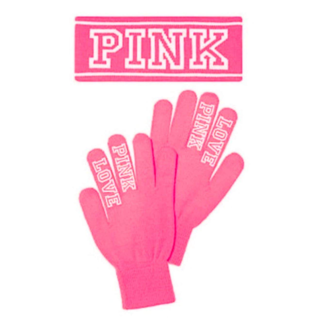 New! Victoria's Secret Pink Knit Headband & Gloves Set - Neon Pink NWT