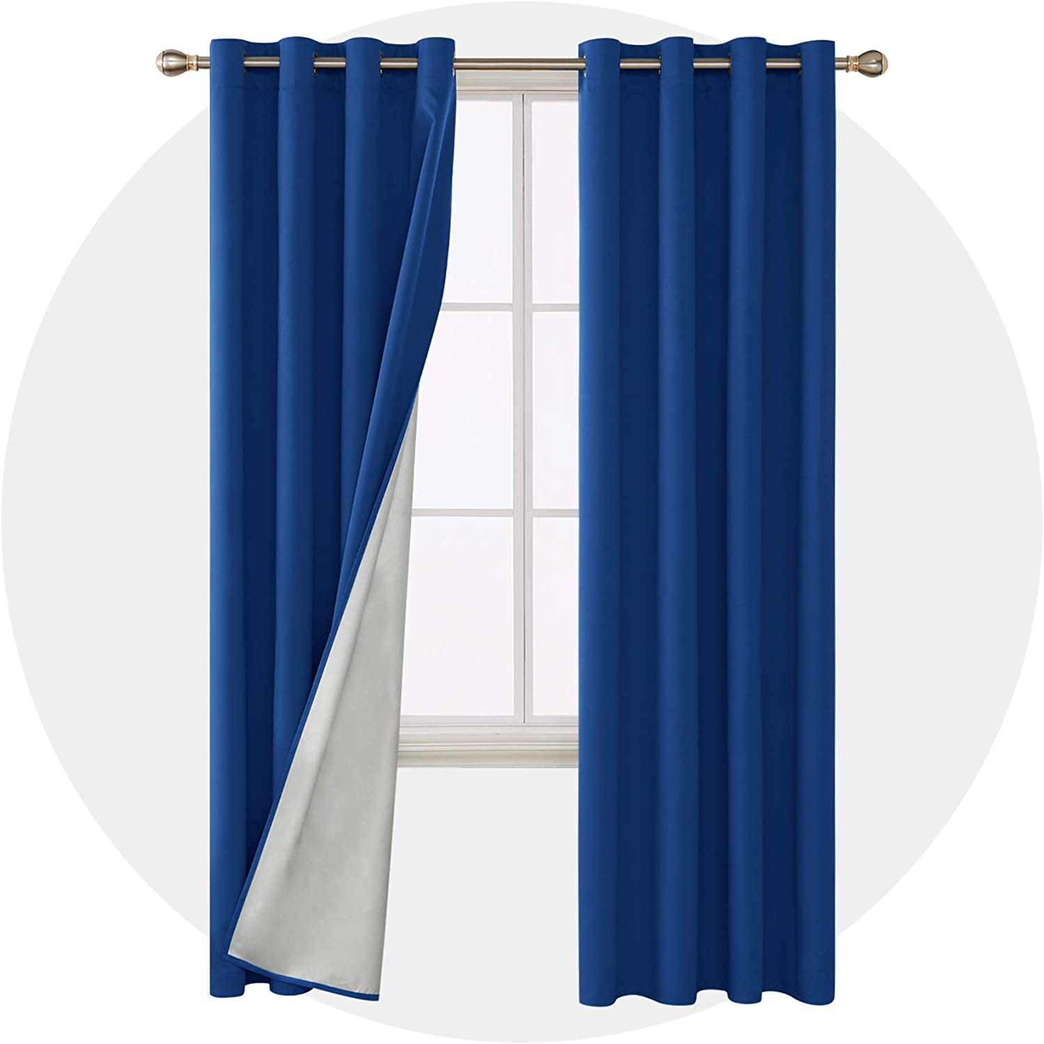 Deconovo Thermal Insulated Window Blackout Curtains Grommet Top Energy Saving Drapes with Silver Liner Back for Living Room 52W x 95L Inch Royal Blue 2 Panels