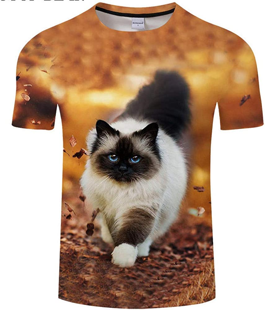 Camiseta con Estampado de Gatos en 3D Camiseta de Viaje Camiseta para Hombre de Vacaciones Camiseta de Manga Corta Camiseta de Manga Corta @ S: Amazon.es: Ropa y accesorios