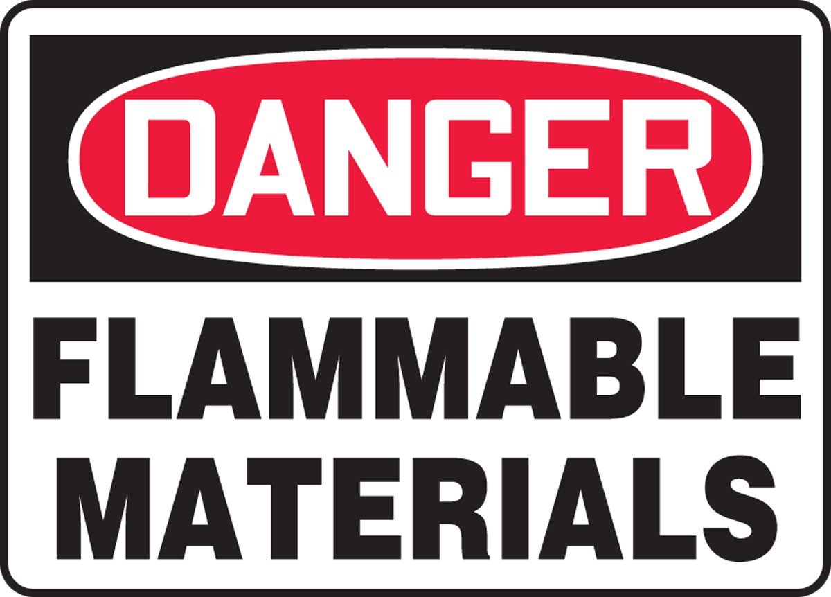 Accuform MCHG052XV Adhesive Dura-Vinyl Safety Sign LegendDANGER FLAMMABLE MATERIALS Red//Black on White 10 Length x 14 Width x 0.006 Thickness