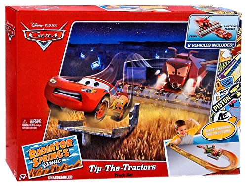 Mattel Disney Cars Radiator Springs Classic Tip-The-Tractors Diecast Car Track Set ()