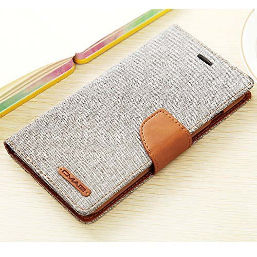 iPhone 6 / 6S Case, Canvas Case Wallet, Slim Fit Folio Book Cover Flip Wallet Case With [Business Card Holder] [Stand Feature] for iPhone 6s / iPhone 6 (6/6s 4.7inch, Grey)
