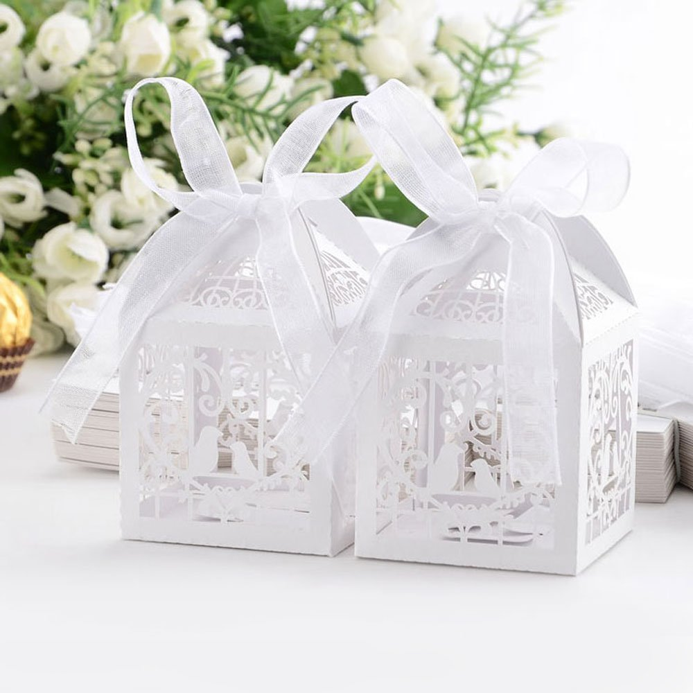 50pcs Laser Cut Wedding Sweets Love Bird Wedding Favor Candy Gifts ...