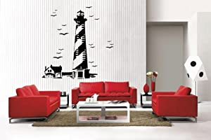 Newclew Lighthouse Bird sea Stickers Removable Vinyl Wall Quote Decal Home Décor Large