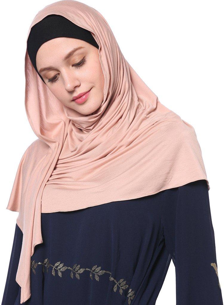 YI HENG MEI Women's Modest Muslim Islamic Soft Solid Cotton Jersey Inner Hijab Full Cover Headscarf,Dark Pink by YI HENG MEI (Image #4)