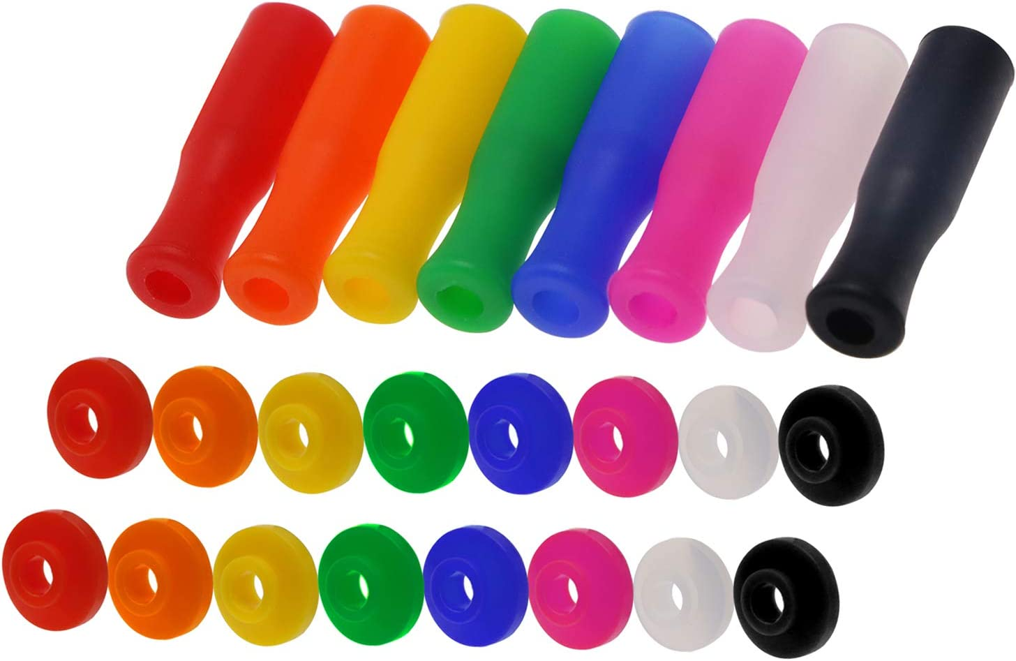 Mini Skater 8Pcs Multi Color Food Grade Silicone Straws Tips Covers and 16Pcs Straw Silencers Anti-Scald/Cold Straws Cover for 1/4 Inch Wide (6MM OD) Stainless Steel Straws,8 Colors