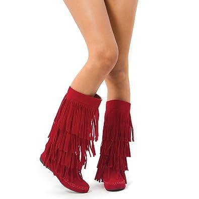 Amazon.com | Fringe 4 Layer Moccasin Knee High Mid Calf Tall Vegan ...