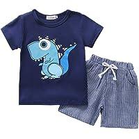 Ropa de Bebé Niño Trajes Camisa Superior con Estampado de Dinosaurio de Manga Corta de Verano, Conjunto de Ropa para…