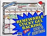 iPrimio - Erase month Calendar - Sticks to ALL Surfaces - Wood, Metal, All Refrigerators, Doors.- SlipToGrip (TM) Renewable Gel - Includes Markers