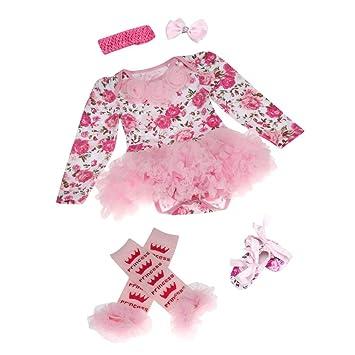 hunpta® Recién Nacido Bebé Pelele de chica tutú vestido conjuntos 4pcs trajes ropa Body Talla:S: Amazon.es: Bebé