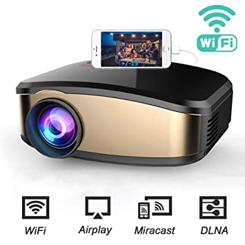 QFTFX Proyector WiFi, Mini proyector DLP Compatible con 1080P Full ...