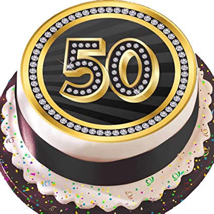 Pleasing Precut Edible Icing Large Cake Topper 7 5 Inch Round Black 50Th Funny Birthday Cards Online Sheoxdamsfinfo