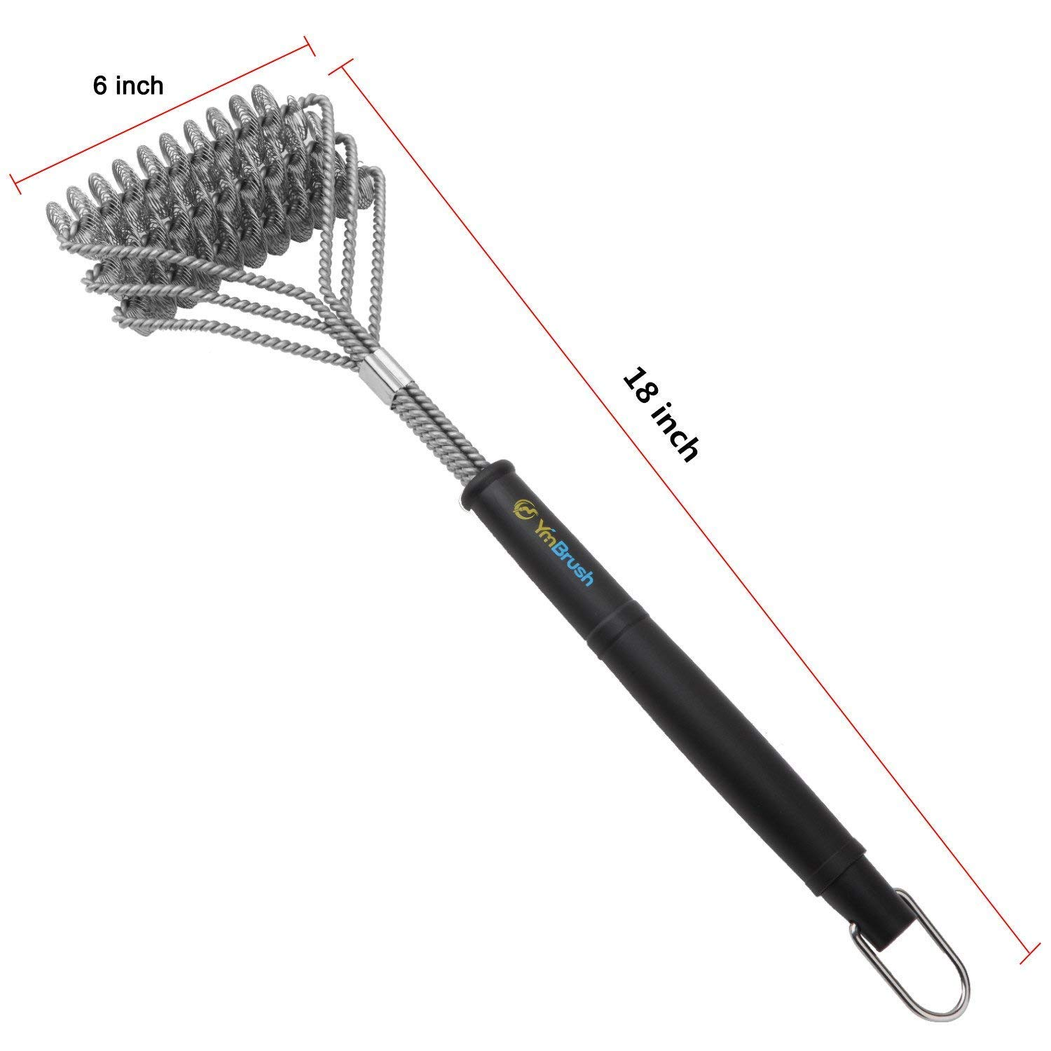 Grill Brush YmBrush Bristle Free Barbecue Cleaning Brush Made with 100% Rust Resistant Stainless Steel Safe for Ceramic, Iron, Gas & Porcelain BBQ Grates Great BBQ Accessories
