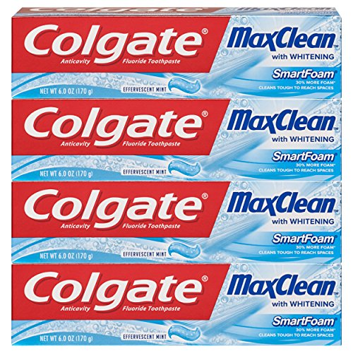 Colgate Max Clean Effervescent Mint with Whitening Foaming Toothpaste, 6 Ounce, 4 Count