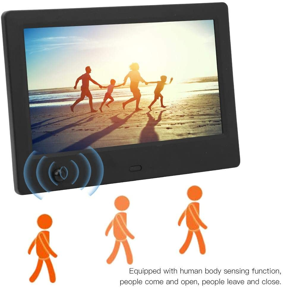 Automatic Startup and Shutdown Support Pictures//Music//Videos Time Remote Control Calendar 16:9 Screen 7 inches HD Digital Photo Frame Motion Sensor Digital Photo Frame Black