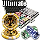 1000 count poker chips - Brybelly 1,000 Ct Ultimate Pro Set - 14g Clay Composite Chips with Aluminum Case, Playing Cards, Dealer Button