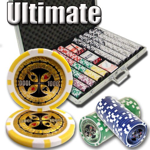 Brybelly 1,000 Ct Ultimate Pro Set - 14g Clay Composite Chips with Aluminum Case, Playing Cards, Dealer Button ()