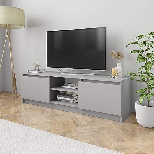 UnfadeMemory Mueble para TV Moderno,Mesa para TV,Mueble de hogar,con 2 Cajones y 2 Compartimentos Abiertos,Estilo Clásico,Madera Aglomerada (Gris, 120x30x35,5cm ...