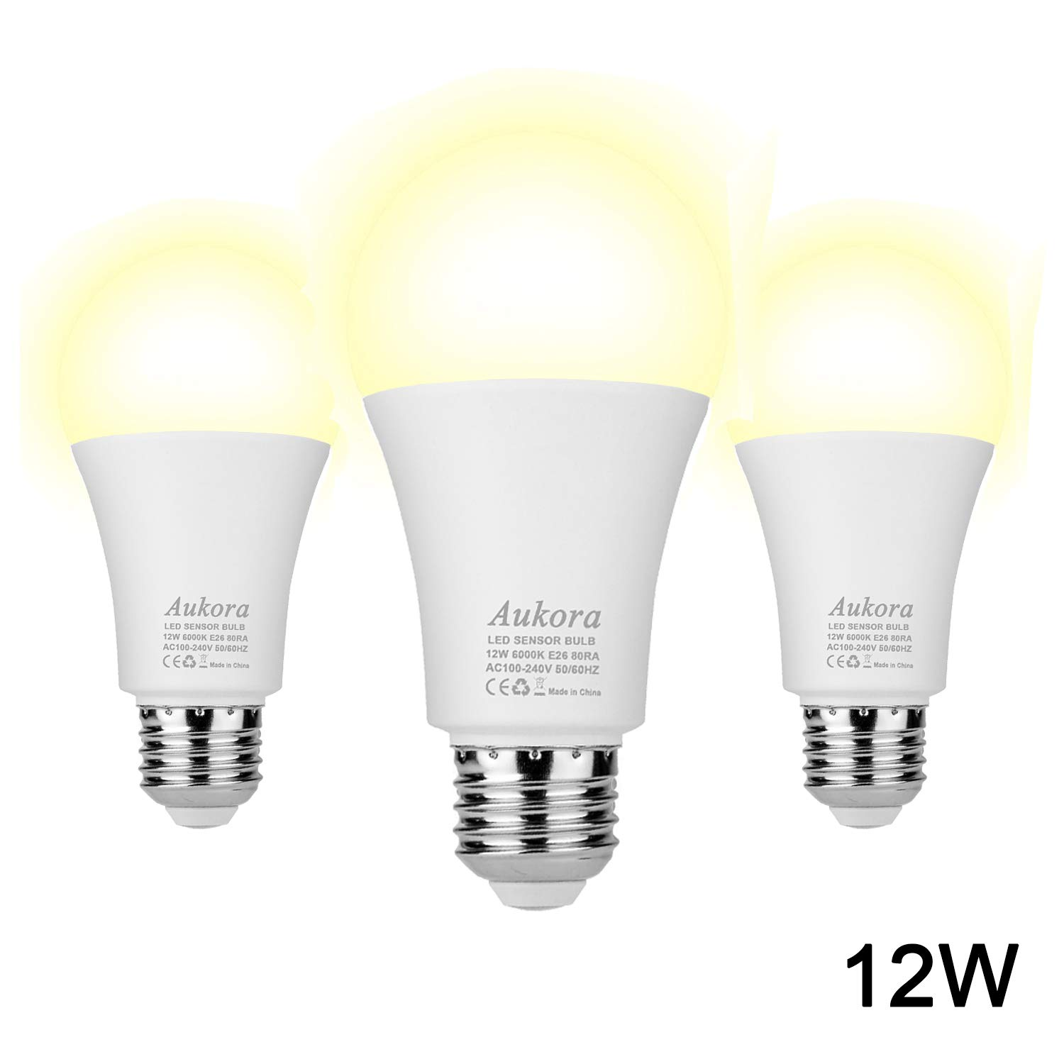 Dusk to Dawn Light Bulb, Aukora Smart Sensor LED Light Bulb, 12W (100-Watt Equivalent), 3000Kelvin, E26 Base Automatic On/Off Led Bulb Outdoor/Indoor for Porch Garage Patio Garden(Warm White, 3 Pack)