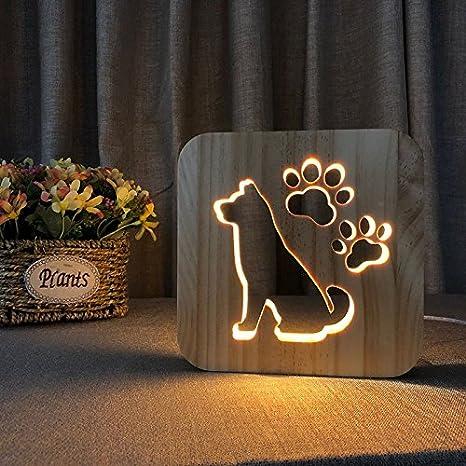 Creative 3D Dog Wooden Lamp, LED Table Light USB Power Cartoon Nightlight  Desk lamp Home Bedroom Decor Lamp, Gift for Kids Adult Girls Boys Bedroom  ...