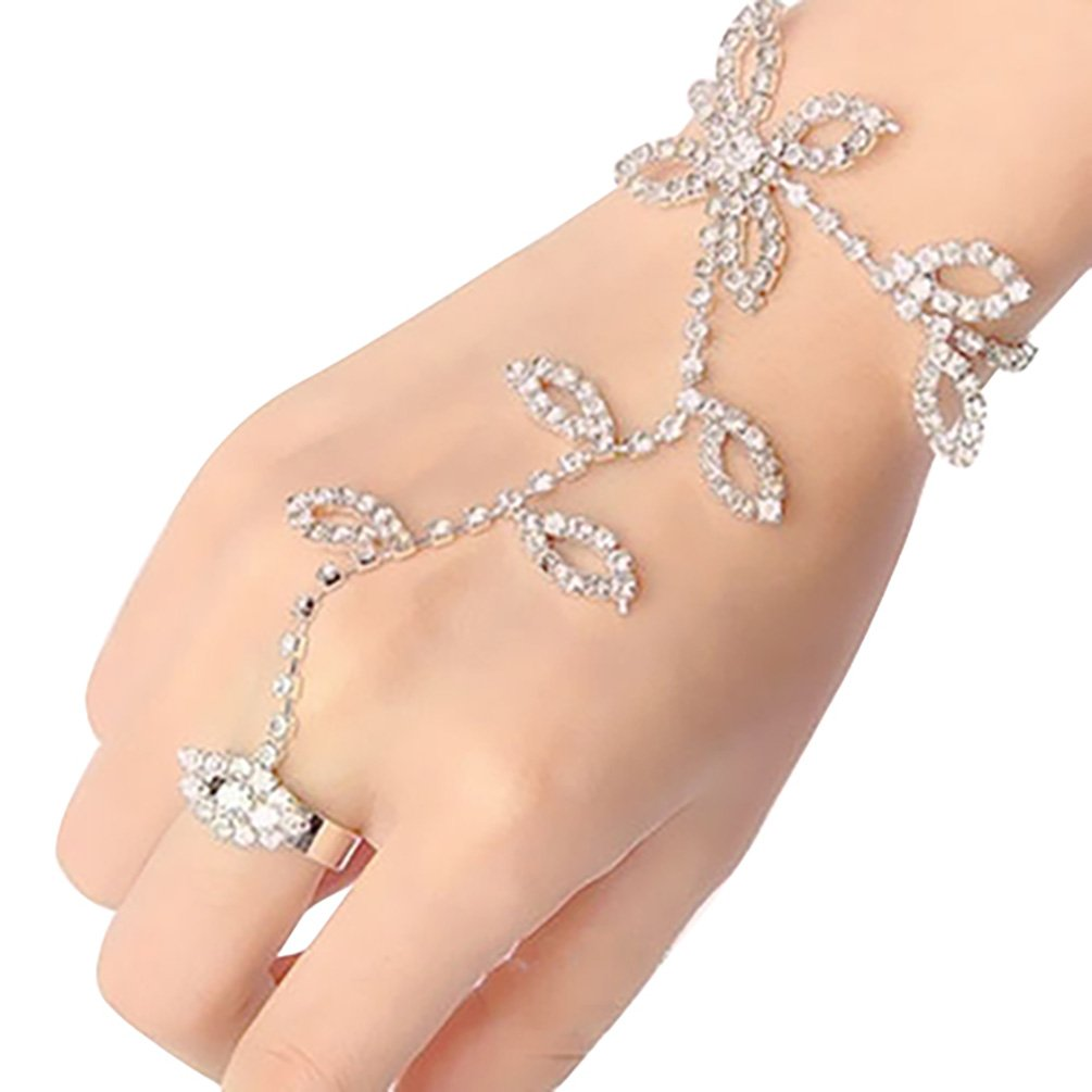 Ameesi Crystal Rhinestone Leaf Hand Harness Bracelet Slave Chain Link Foot Finger Ring