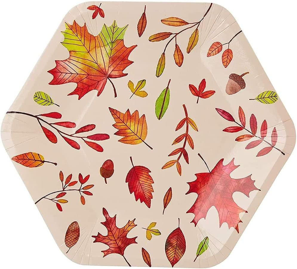 Fall Leaves Paper Plates for Thanksgiving Party (9 In 50 Pack)