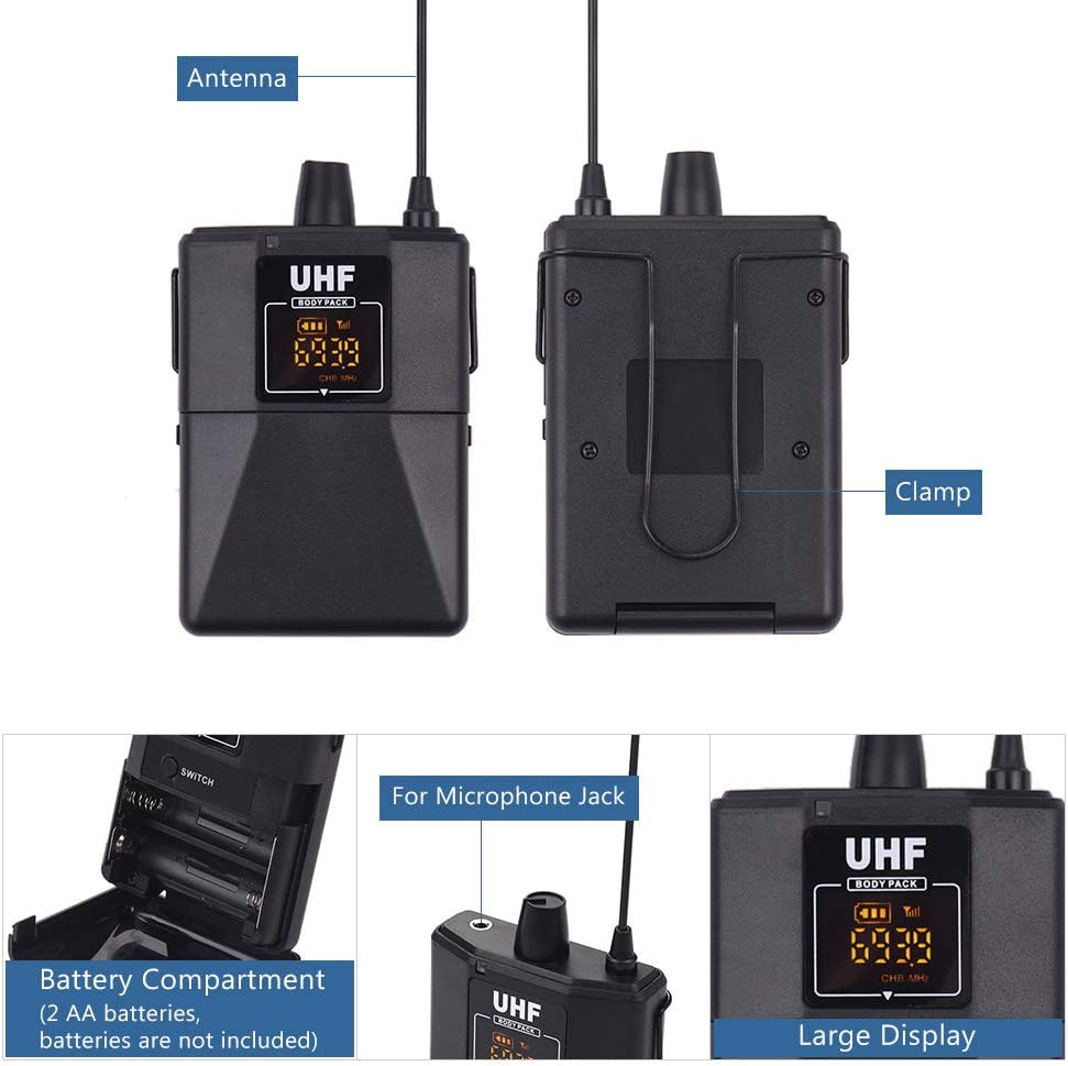 Muslady UHF Wireless Microphones Set Dual-Frequency with 1 Receiver 2 Transmitter 2 Lavalier Mic 2 Headset Mic for Teaching Meeting Live Performance