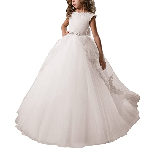 c8fef45391 Flower Girl Dress Fancy Tulle Satin Lace Cap Sleeves Pageant Girls Ball Gown  White Ivory (