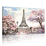 Visual Art Decor 32''x48'' Modern Canvas Wall Art Prints of Romance Couples on Paris Street Spring Pink Blossom Eiffel Tower Painting Picture with Frame for Living Room Decal (04 Pink Xlarge)