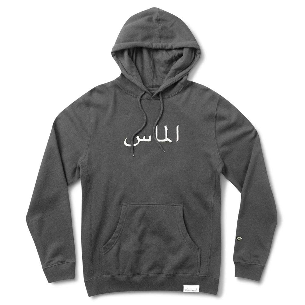 Mens Arabic Pigment Dyed Pullover Long Sleeve Hoodie Charcoal Gray Diamond Supply Co
