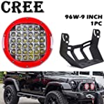 UNI Balance CREE 9 INCH 96W Round Led Light 9000LM Front Bumper Driving Lights Spot Beam for Offroad Vehicle Jeep Wrangler Ford Toyota Pickup 4WD ATV SUV Boat Truck Bulldozer Excavator Forklift