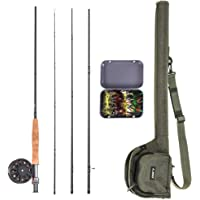 Goofly 9' Fly Fishing Rod and Reel Combo with Carry Bag 20 Flies Complete Starter Package Fly Fishing Kit