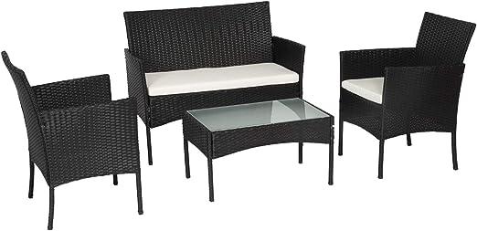 Conjunto CORFOU de sillas y Mesa para jardín, en Resina Trenzada de Color Negro con Cojines Blancos (4 plazas): Amazon.es: Jardín