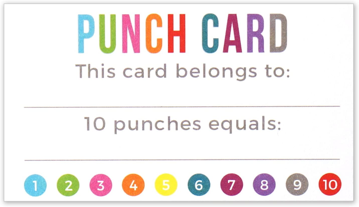 Punch Card - Incentive Loyalty Reward Cards - Business Card Size 3.5 x 2 Inches - Pack of 50