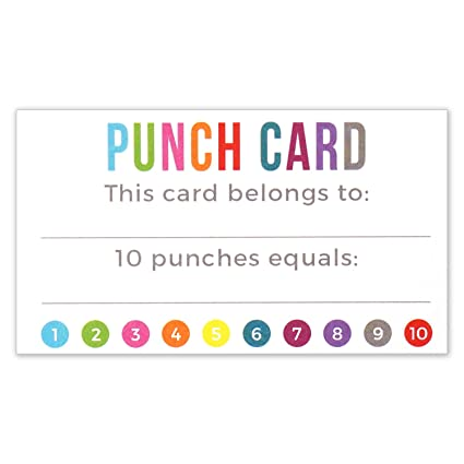 punch card incentive loyalty reward cards business card size 35 x 2 inches - Business Card Size Inches