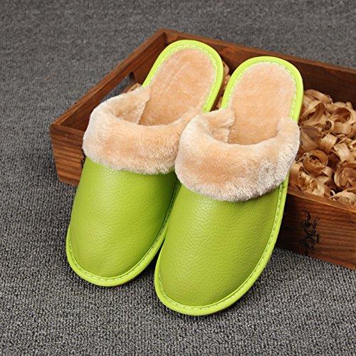 Fankou pantofole inverno scarpe di cotone di rimanere caldo scarpe uomini e donne paio di spessore della camera non-slip ,39-40, verde chiaro