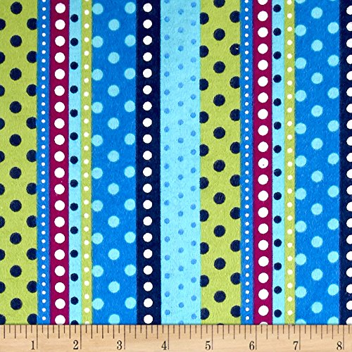Flannel Dotted Stripe Lagoon Fabric By The Yard (Purple Flannel Fabric)