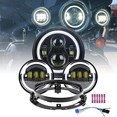 "Atubeix 7"" Inch Halo LED Motorcycle Headlight+4.5"" inch Fog Passing Lights With White DRL Headlamp and bracket Kit fit for Electra Glide Street Glide Road King Heritage Softail Ultra Limited Black: Automotive"