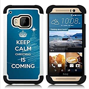 GIFT CHOICE / Defensor Cubierta de protección completa Flexible TPU Silicona + Duro PC Estuche protector Cáscara Funda Caso / Combo Case for HTC ONE M9 // Calm Keep Coming Blue Christmas Blue //