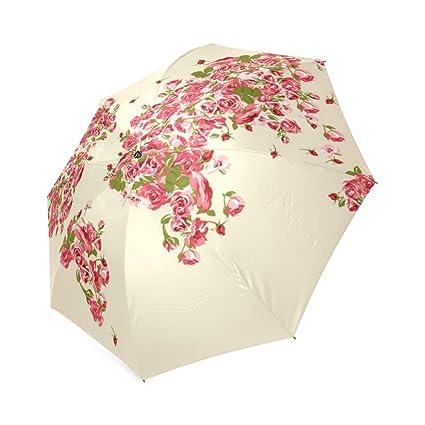 jc-dress plegable paraguas Rosa mapa del mundo resistente al viento resistente y portátil para