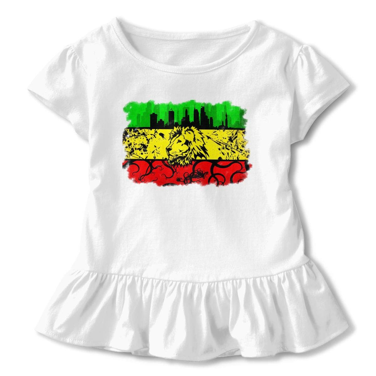 Cheng Jian Bo Lion of Jamaica Reggae Toddler Girls T Shirt Kids Cotton Short Sleeve Ruffle Tee
