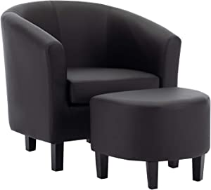 AmazonBasics Barrel Accent Chair with Ottoman - Vegan Leather, Black