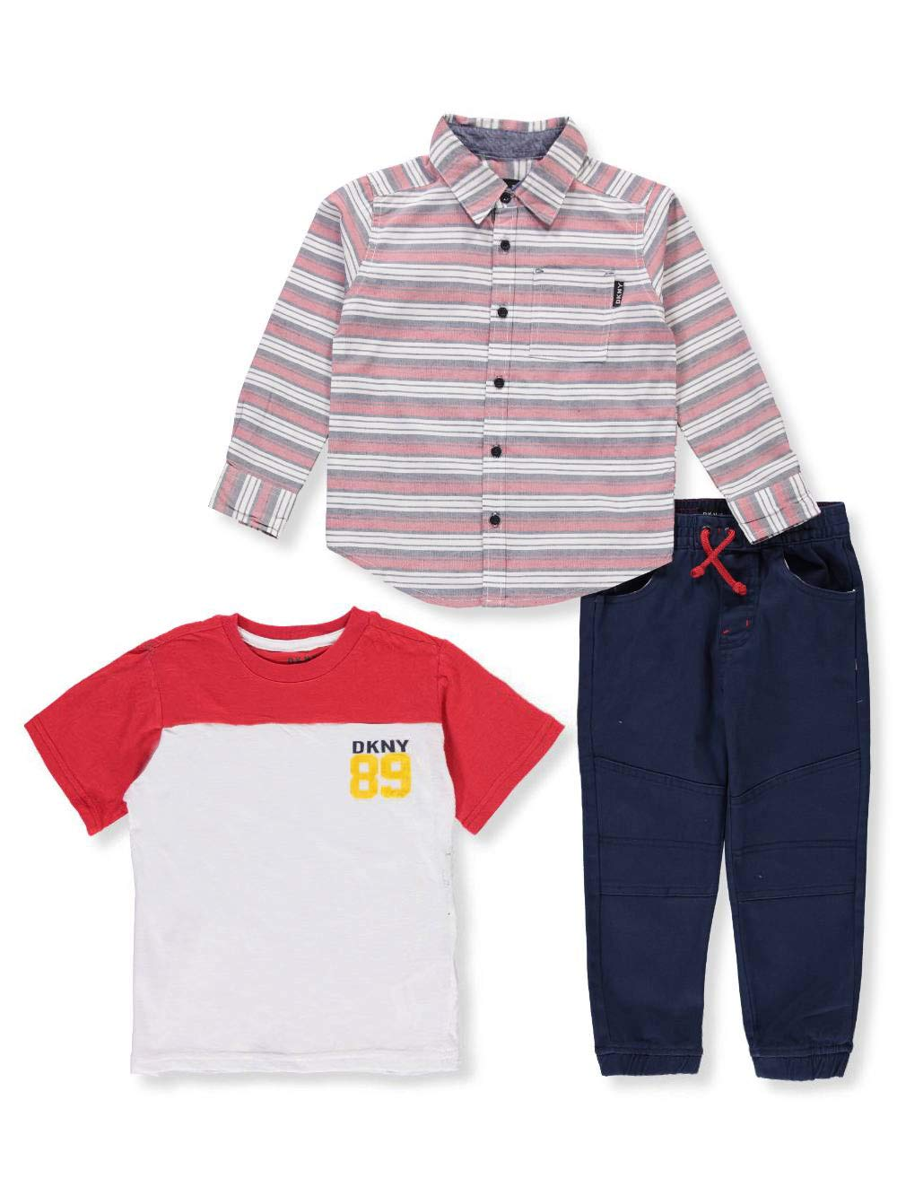 DKNY Little Boys' Manhattan Sport Shirt, T-Shirt and Jog Pant, Dress Blues, 5
