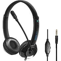 KKSH Auriculares Telefono 3.5mm, Auriculares Micrófono PC, Auriculares Diadema Cable, Headset Cancelación de Ruido…