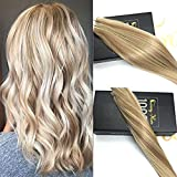 "Sunny 16"" Brazilian Tape in Human Hair Extensions Two Tone Color Dark Ash Blonde with Golden Blonde Highlights Human Hair Extensions Tape in 100g 40pcs"