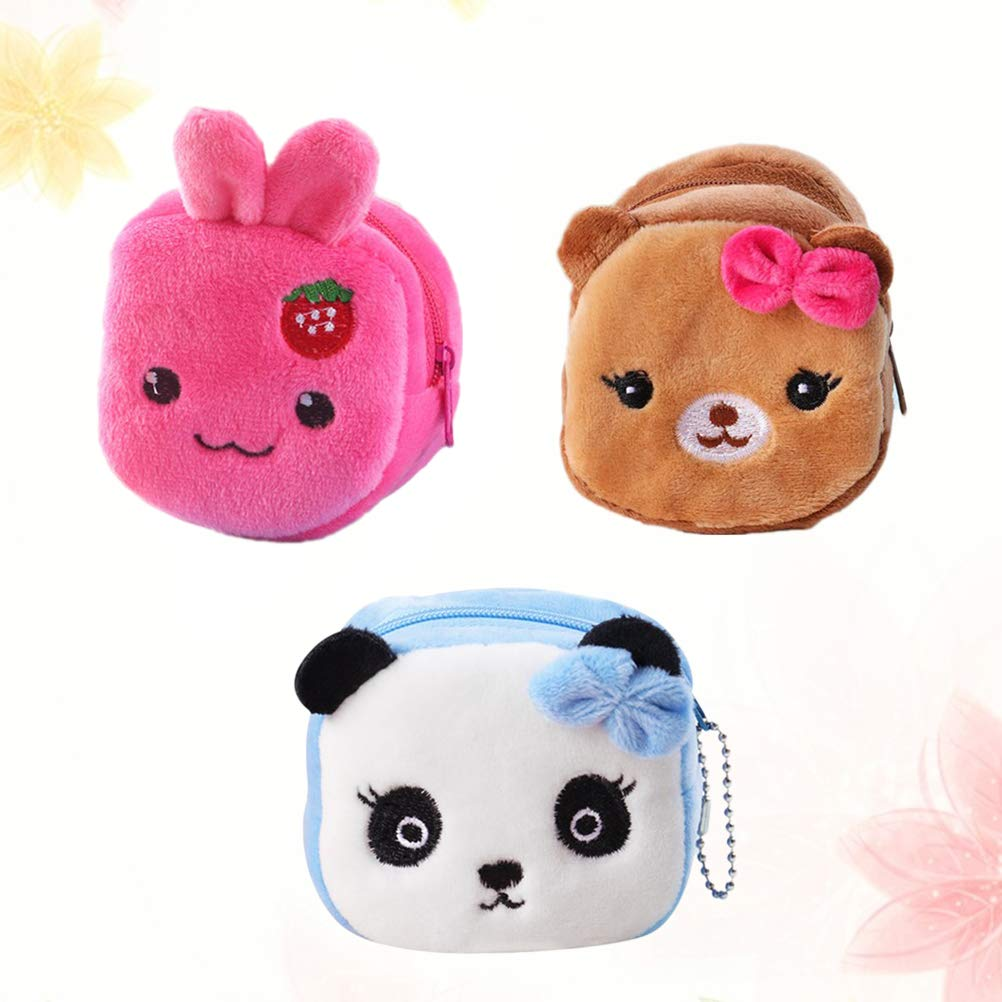 Yeahibaby 3pcs Cute Plush Change Purse Creative Cartoon Gift Key Storage Change Purse for Kid Girl Child (Strawberry Rabbit, Bowknot Dog, Blue Panda ...