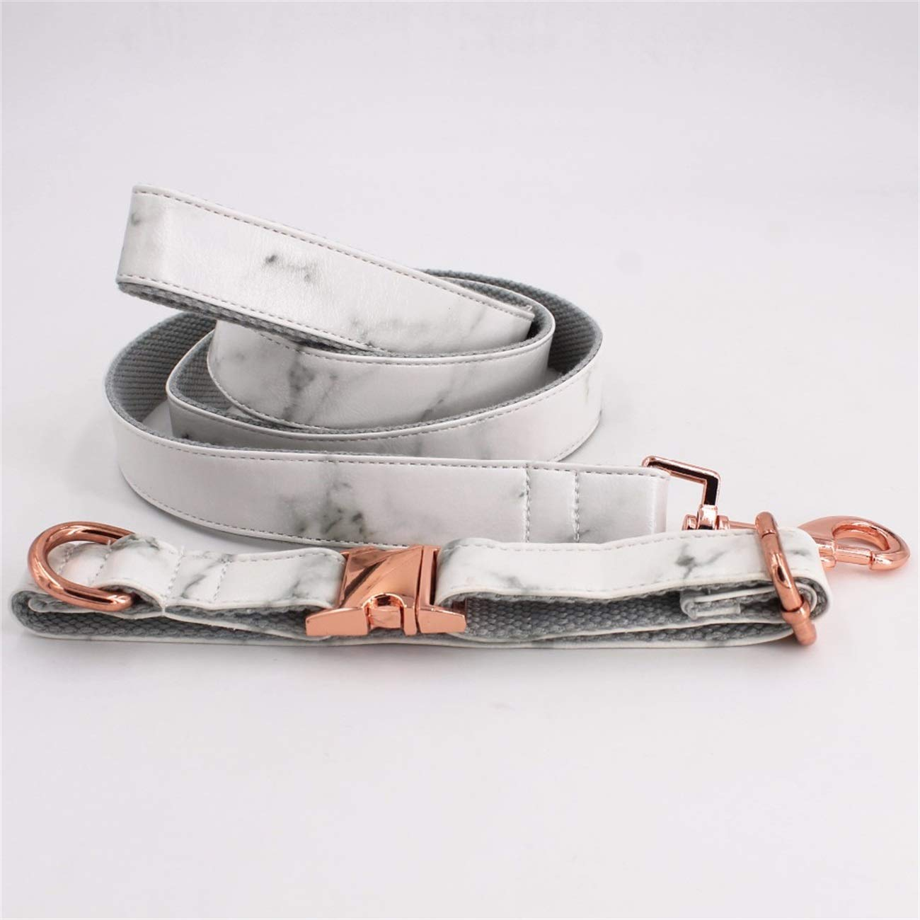 Fashbag Marble Dog Collar Personalized Faux Leather Dog Collar Leash with Rose Metal Buckle Full Set L 35.5-58cm Length