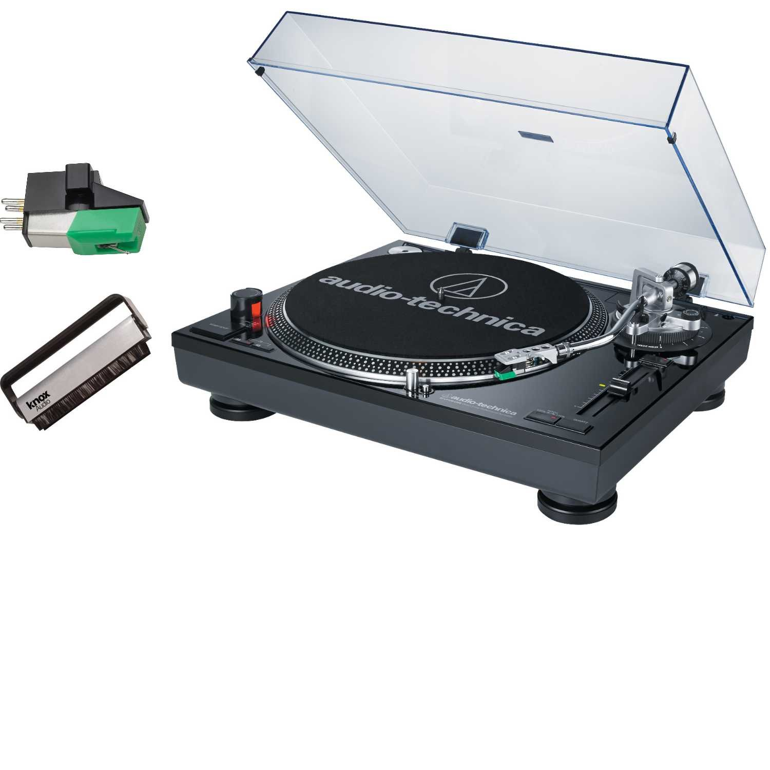 Audio Technica AT-LP120-USB Direct-Drive Professional Turntable (Black) w/ Knox Carbon Fiber Brush Cleaner & Additional AT95E Cartridge