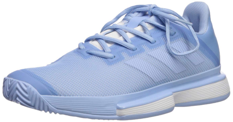 adidas Women's SoleMatch Bounce Tennis Shoe, Glow Blue/White, 5 M US