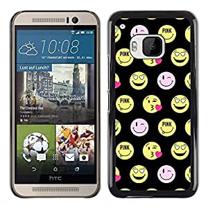 Design for Girls Plastic Cover Case FOR HTC One M9 Happy Smiley Face Funny Emoticon OBBA